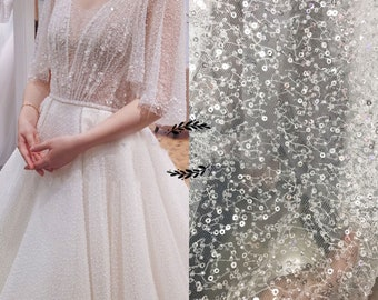 Stunning 3D Beading Sequin Off-White lace Fabric Silver paillette Lace Mesh 51 inches Width for Wedding Dress Prom Gown Sold by 0.5 meter