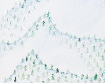 Digital Mountain Watercolor Painting