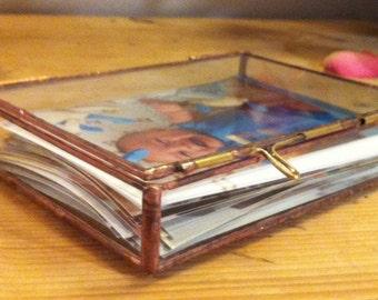 Glass Photograph box, wedding day box, card box, vintage display box,glass keepsake box, jewelry box, treasury box, memory box