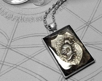 Helmet Shield : hand embossed repoussé heraldry metal pendant necklace