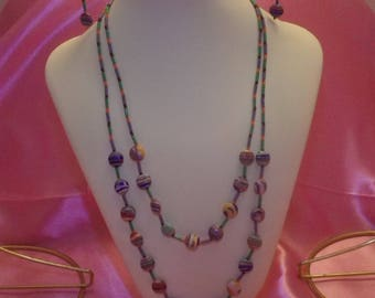 Candy Colors 2 Strand Necklace and Earring Set