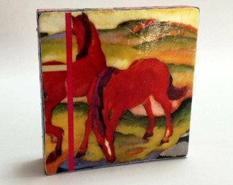 Franz Marc - Grazing Horses IV (The Red Horses),1911 - Original Art with Mixed Construction Technique.