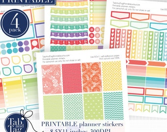 Stickers RAINBOW kit PRINTABLE fits BIG Happy planner. New 2x3 boxes included!!