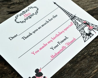 Kids Thank You Notes Fill In The Blank Parisian Design
