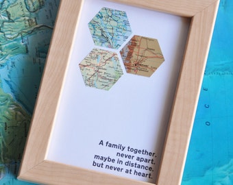 Mother's Day Gift Personalized for Mom Gift for Parents Distance Family Personalized Map Art