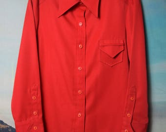 Vintage 70's red button up sz M