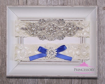 Wedding Garter, bridal garter, something blue, Plus Size Garter, Lace Garter, Wedding Garter Set, Rhinestone Garter, Garter Wedding, WG25