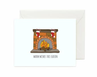 "Fireplace w/ Stockings ""Warm Wishes This Season"" Greeting Card"