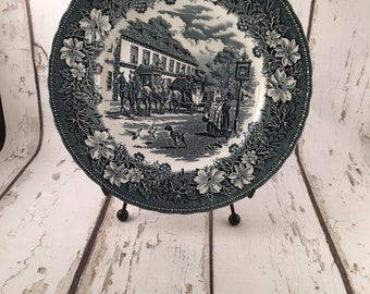 Vintage English Transfer Ware Dinner Plate Coaching Taverns Royal Tudor Ware Staffordshire Ironstone BLue and White 1950's epsteam TVAT