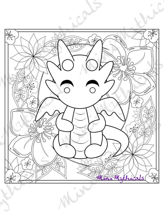 Kawaii Dragon Erwachsenen Färbung Seite niedlichen