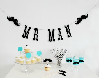 Mr. Man Birthday Garland. Boy Party. Little Man Bash. First Birthday