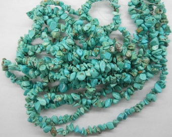 turquoise chip stone, small size, 5-8mm nugget stone, 32 inch long