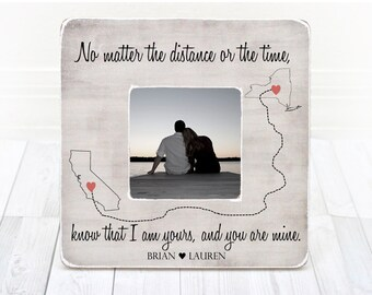 Long Distance Relationship Frame Gift for Boyfriend Girlfriend Fiance Personalized States Frame, Gift for girlfriend boyfriend