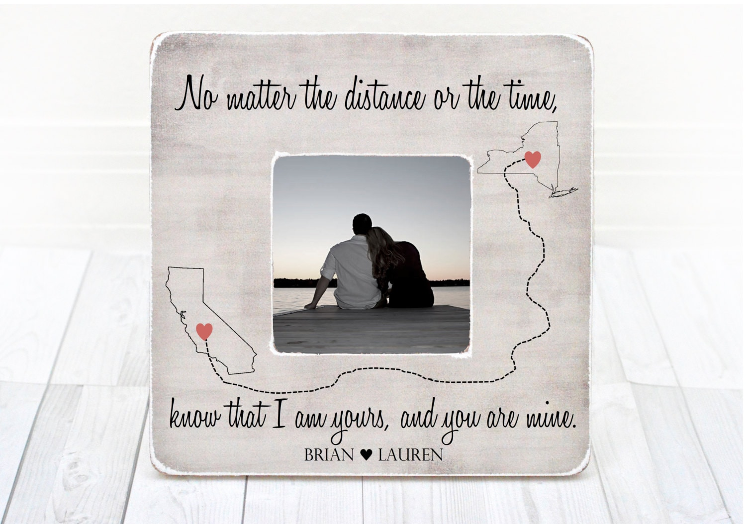 Long Distance Relationship Frame Gift for Boyfriend Girlfriend
