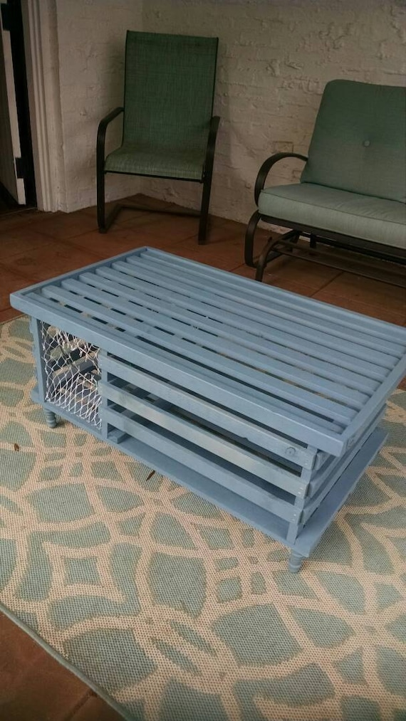 Handmade Wooden Lobster Trap Coffee Table West Coast Blue