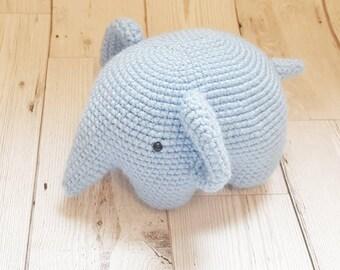 Blue elephant soft toy, crochet elephant, newborn toy, crochet toy, baby elephant, elephant nursery decor, stuffed elephant, elephant plush