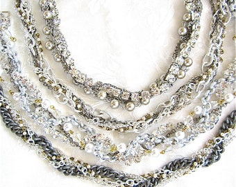 Set of 4 Bridesmaid Necklaces Silver Chunky Rhinestone Pearl Gunmetal Swarovski Crystal Vintage Wedding Necklace