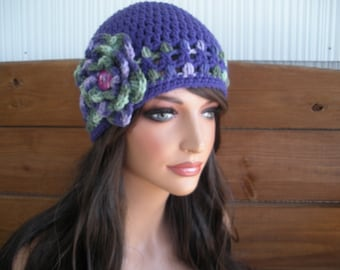 Womens Hat Crochet Hat Winter Fashion Accessories Women Beanie Hat Cloche in Lavender with Multicolor stripes and Crochet flower