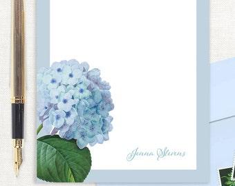 personalized notePAD - BLUE HYDRANGEA - stationery - custom stationary - hydrangeas - botanical - floral - flowers