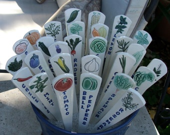 Nine Ceramic Garden Markers, Handmade and Hand Painted Vegetables and Herbs
