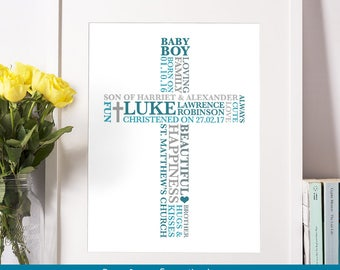 Christening Baby Boy Print | Baptism Gift | Personalised Confirmation Gift | Cross Christening Gift Boy | First Communion Gift