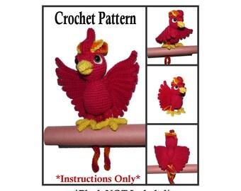 Phoenix Plush Crochet Pattern   - Squawks the Phoenix