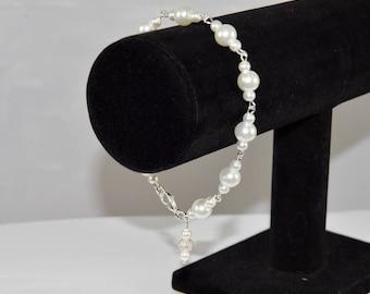 Silver & White Pearl Link Bead Bracelet