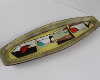 Handmade Colorful Cubist Glaze Pottery By Harris F. Strong.