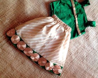Girls indian velvet skirt and top set lehenga