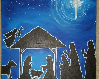 Nativity Silhouette - 20x20 Canvas Art