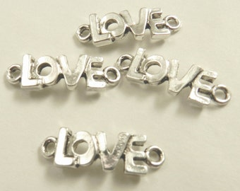 10 Antique Silver Love Links, Lead Free, Nickel Free, 8x24x3mm, 2mm holes, Alloy Metal, Valentine's Day, Mother's Day