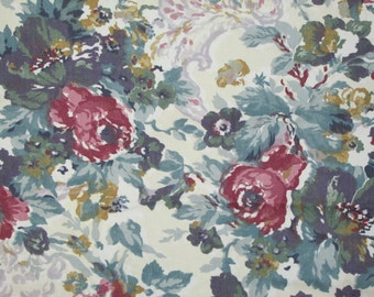 """Peter Pan Fabrics 1 Yard + Blue Green Floral Roses on Ivory Background 62"""" wide CR 10731 / 16023 Vintage"""