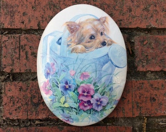 Yorkie YORKSHIRE TERRIER with FLOWERS watering can Garden mini ViNtAgE puppy dog print ceramic Wall Art Decor