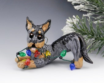 Beauceron Harlequin Porcelain Christmas Ornament Figurine Lights Clearance