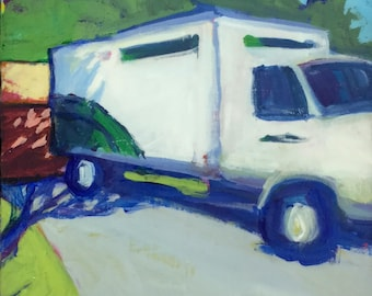 Heart Transplant - 6x6 inches original acrylic painting of a moving van in a driveway by Maryland landscape artist Barb Mowery