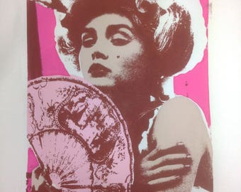 Geisha Girl A2 Limited Edition Hand Pulled Screen Print Pink Framed Art
