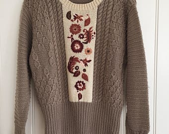 Grey And Cream Floral Knit Sweater