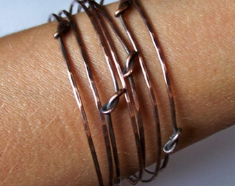 Copper Bangle Bracelets - 7 Stackable Copper Bangles - Stacking Bangles - Knotted Hammered - Oxidized or Natural - Made to Order