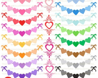Valentine Heart bunting, Valentines Day banners, Heart bunting, Valentine clipart, commercial use, instant download, AMB-1150