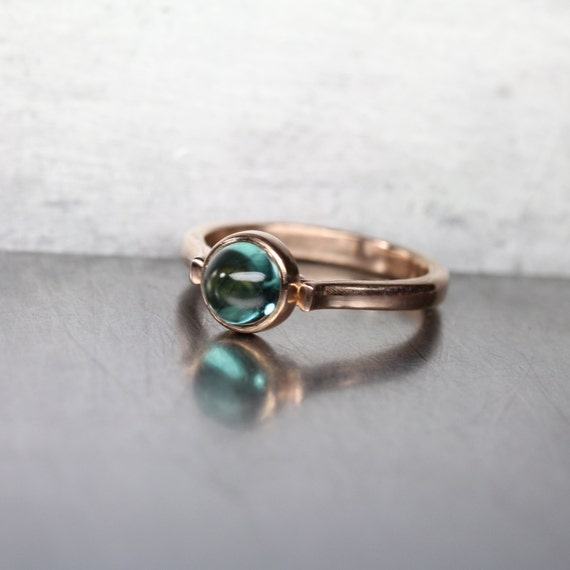 Indicolite Tourmaline 14K Rose Gold Engagement Ring Vintage