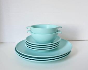 Vintage Melamine Watertown Lifetime Ware Dishes Aqua Blue 1950s Mid Century Plastic Plates Bowls & 1950s melamine | Etsy