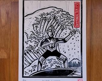 Surfing Ultraman Linocut Handpulled Print