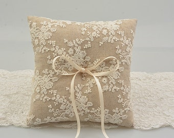 ring bearer pillow, white lace ring bearer pillow, wedding ring pillow  line