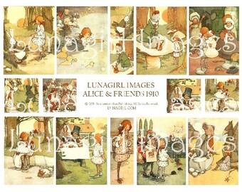 Vintage ALICE in WONDERLAND digital collage sheet, Alice characters, pictures art Victorian images, children's book illustrations DOWNLOAD