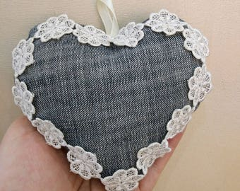 Denim heart  with white lace
