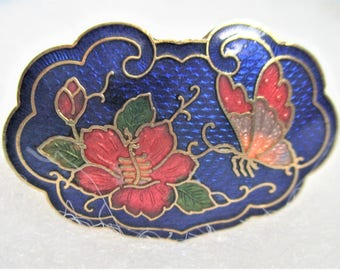 Lapis Blue Scarf Clip Cloisonne Scarf Accessory Floral Butterfly Image Artful Lapis Blue Cloisonne Jewelry Peach Gold Oval Scarf Clip