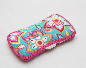 Personalized Wipes Case - Hot Pink and Turquoise Floral