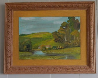 Serene Pastoral Oil Painting with Awesome Carved Wooden Frame!