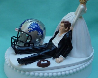 Wedding Cake Topper Detroit Lions Football Themed w/ Bridal Garter Sports Fans Funny Bride and Groom Humorous Unique Original Groom's Top
