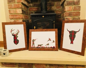 Rustic Tartan Animal Framed Silhouette Picture